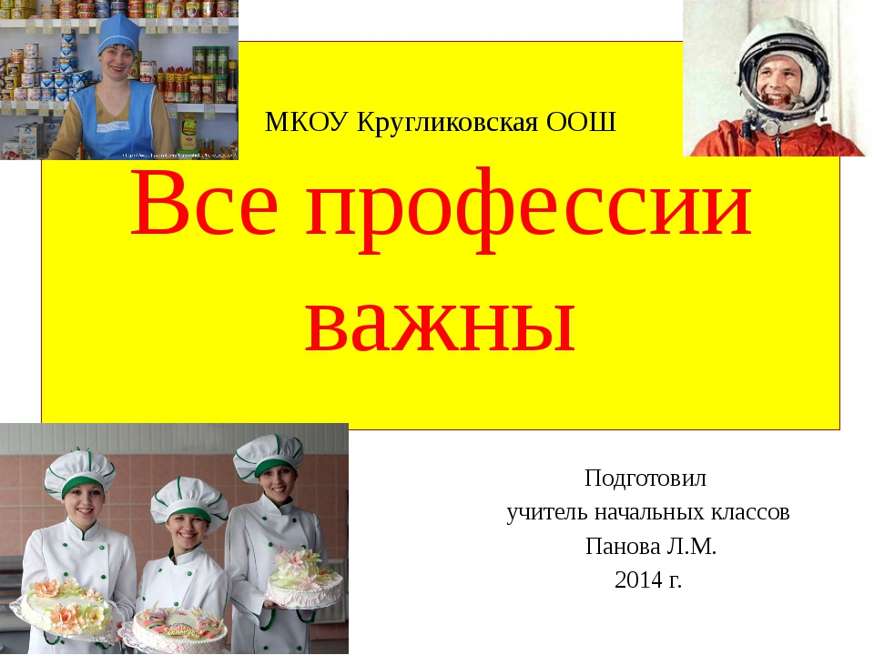 МКОУ Кругликовская ООШ Все профессии важны Подготовил учитель начальных класс...