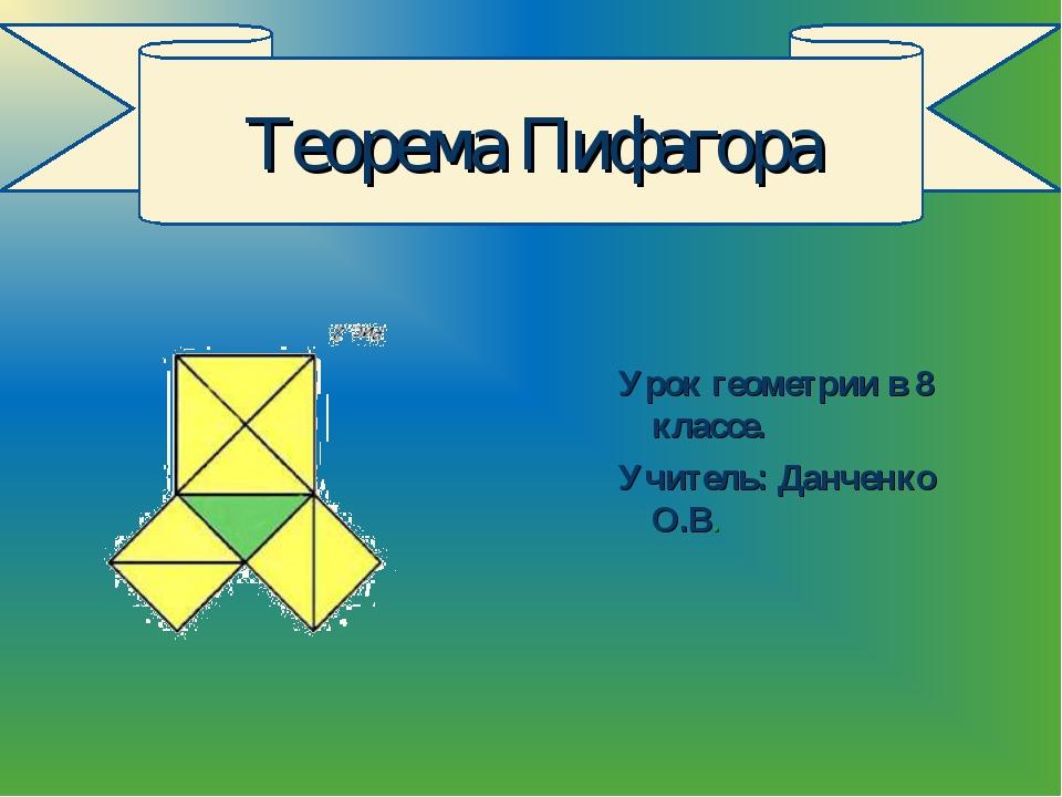 Урок геометрии в 8 классе. Учитель: Данченко О.В. Теорема Пифагора