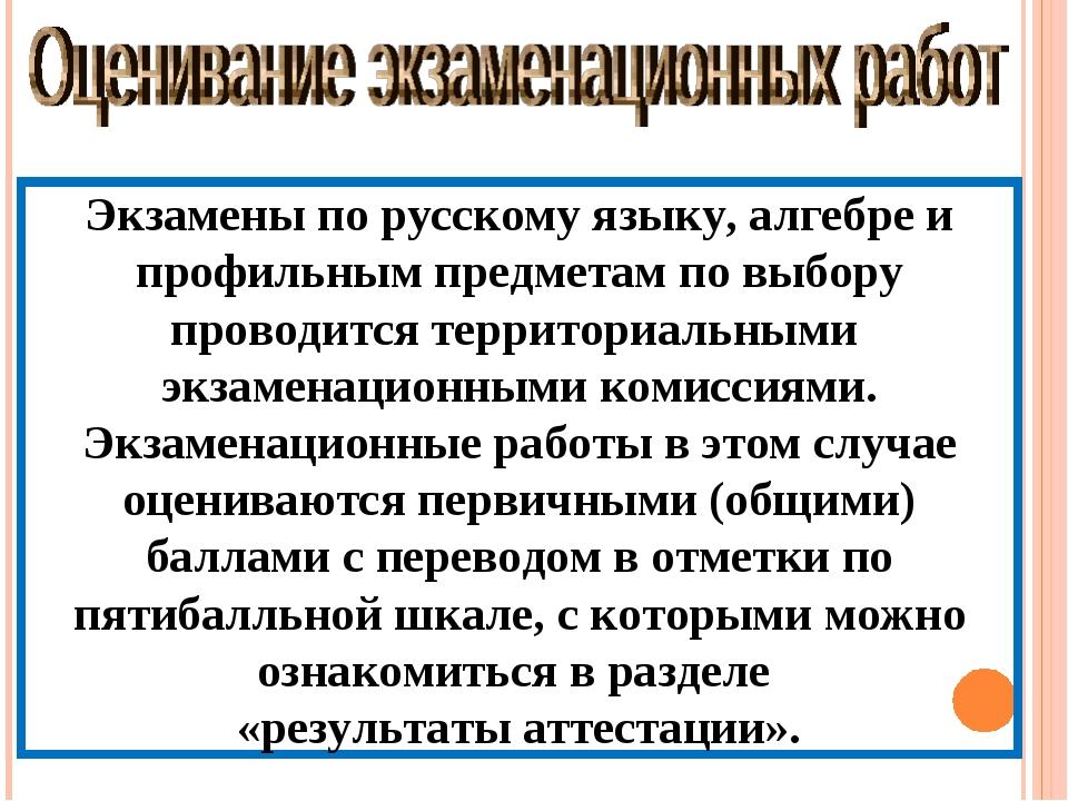 Экзамены по русскому языку, алгебре и профильным предметам по выбору проводит...
