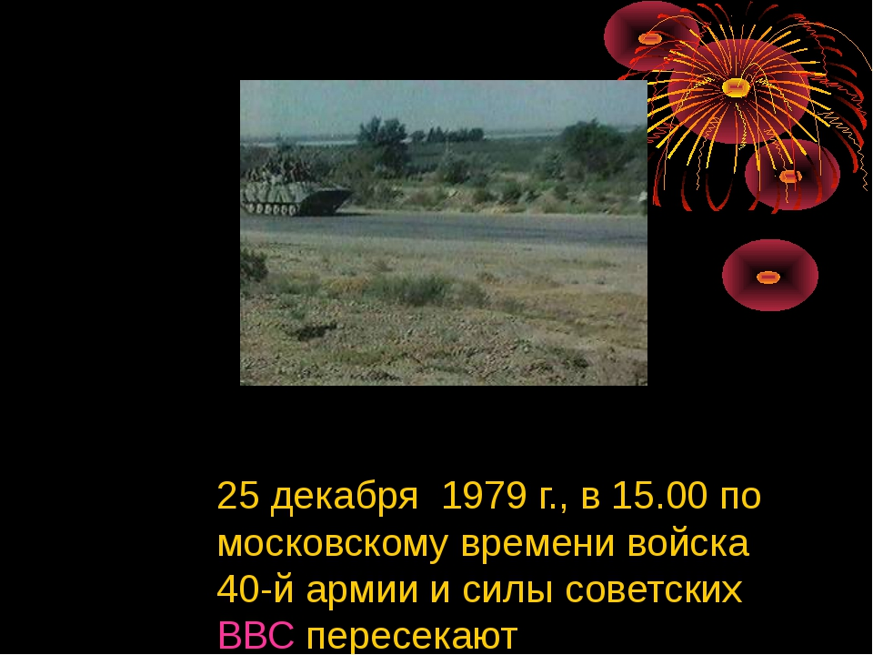 25 декабря 1979 г., в 15.00 по московскому времени войска 40-й армии и силы...