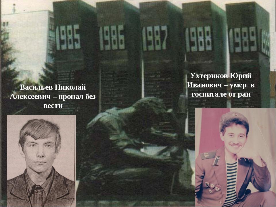 Васильев Николай Алексеевич – пропал без вести Ухтериков Юрий Иванович – умер...