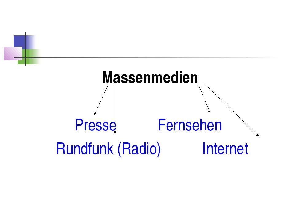 Massenmedien Presse Fernsehen Rundfunk (Radio) Internet