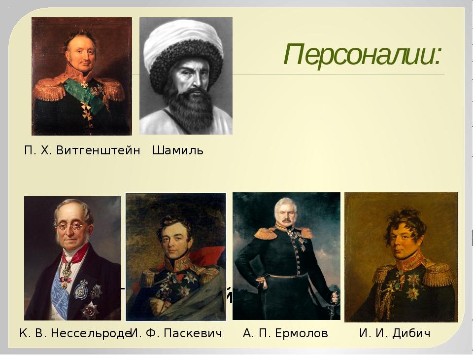 Персоналии: ; В.А.Перовский К.В. Нессельроде И.Ф.Паскевич А.П.Ермолов...