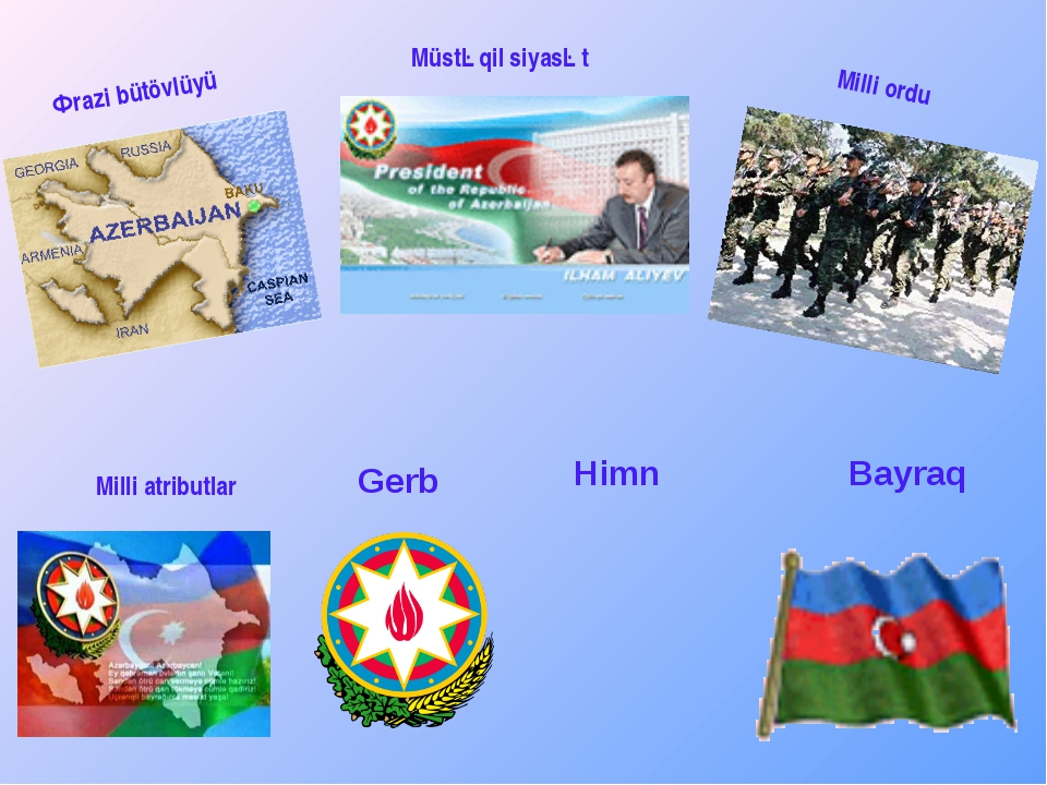 Ərazi bütövlüyü Milli atributlar Müstəqil siyasət Milli ordu Gerb Himn Bayraq
