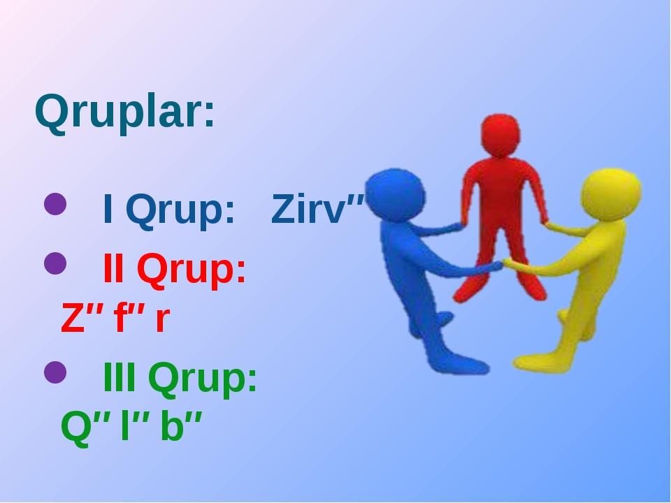Qruplar: I Qrup: Zirvə II Qrup: Zəfər III Qrup: Qələbə