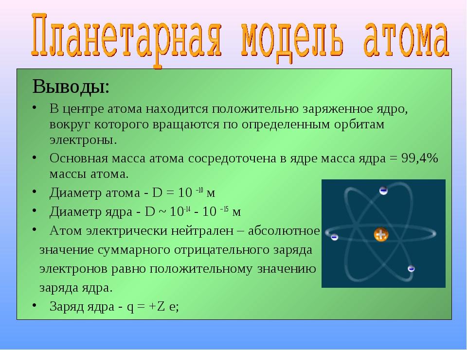 Выводы: В центре атома находится положительно заряженное ядро, вокруг которог...