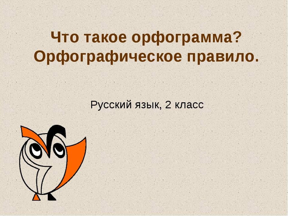 Что такое орфограмма? Орфографическое правило. Русский язык, 2 класс