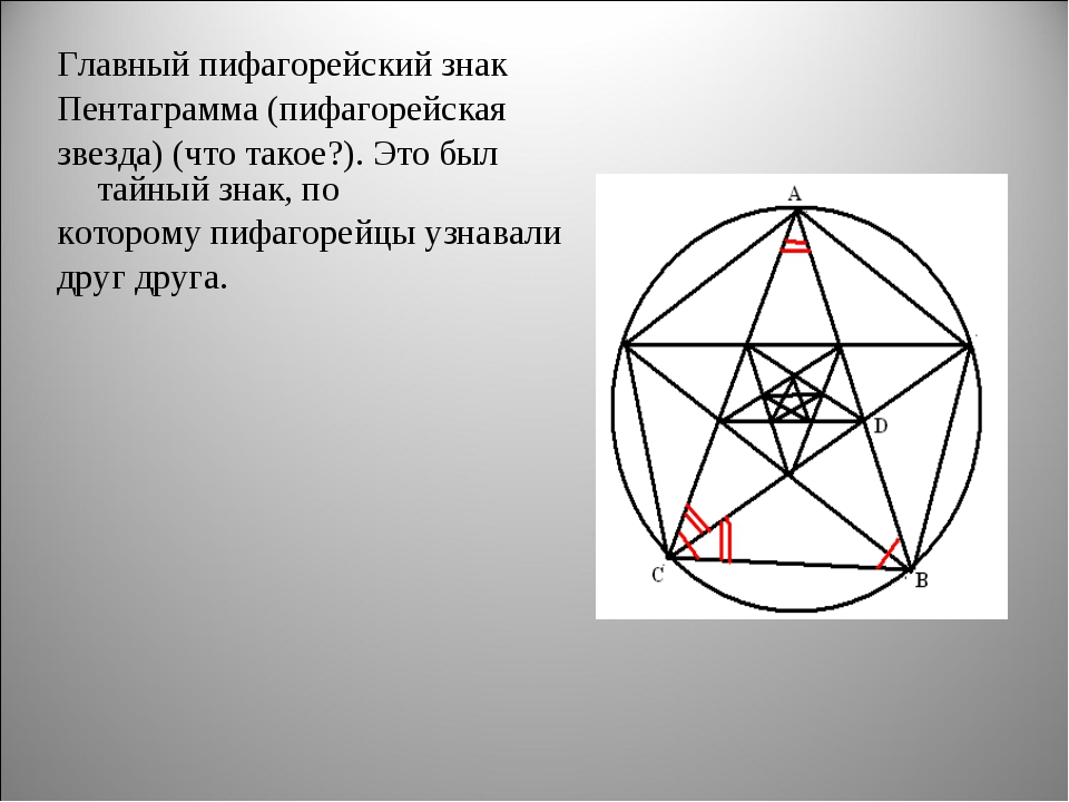 Главный пифагорейский знак Пентаграмма (пифагорейская звезда) (что такое?). Э...