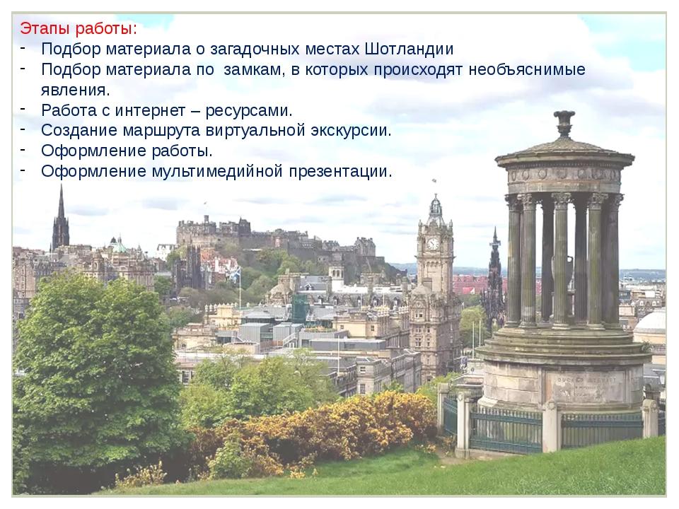 Этапы работы: Подбор материала о загадочных местах Шотландии Подбор материала...