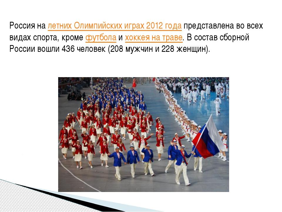 Россия на летних Олимпийских играх 2012 года представлена во всех видах спорт...
