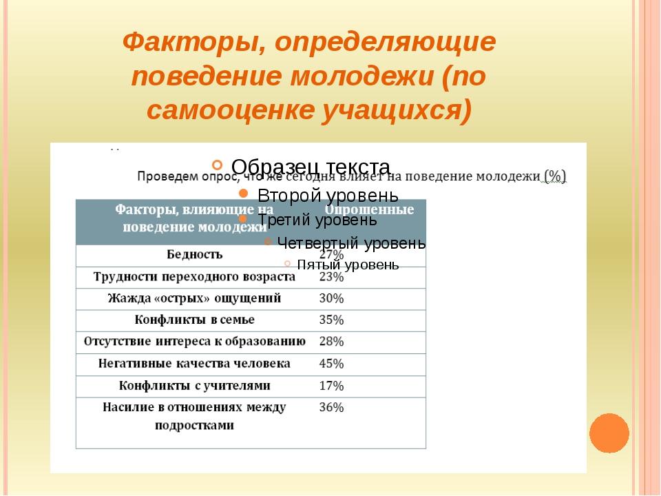 Факторы, определяющие поведение молодежи (по самооценке учащихся)