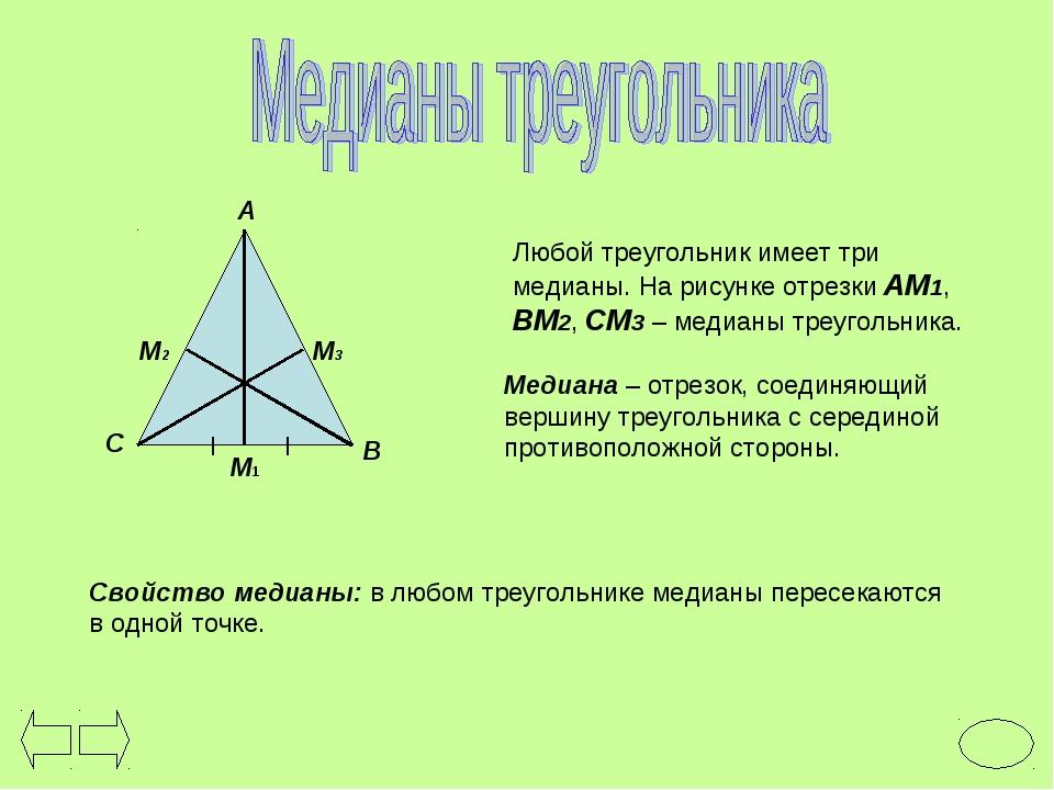 Любой треугольник имеет три медианы. На рисунке отрезки АМ1, ВМ2, СМ3 – медиа...