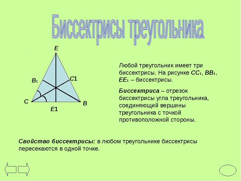 Любой треугольник имеет три биссектрисы. На рисунке СС1, ВВ1, ЕЕ1 – биссектри...