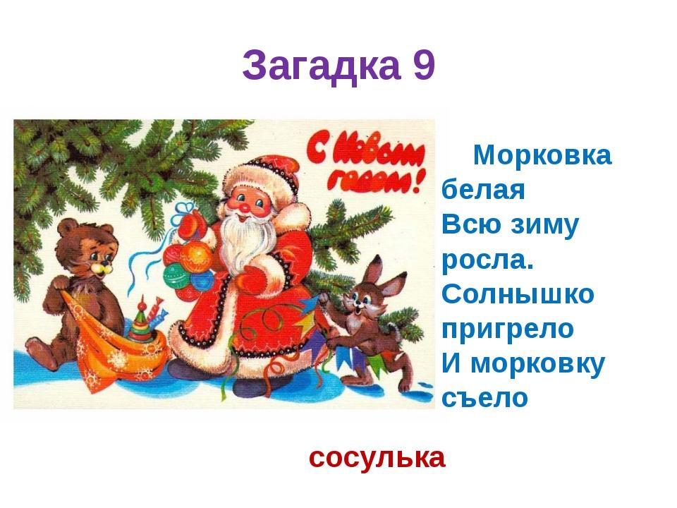 Загадка 9 Морковка белая Всю зиму росла. Солнышко пригрело И морковку съело...