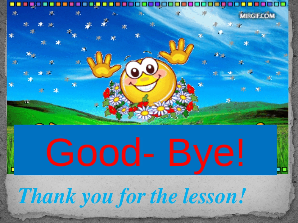 Thank you for the lesson! Good- Bye!