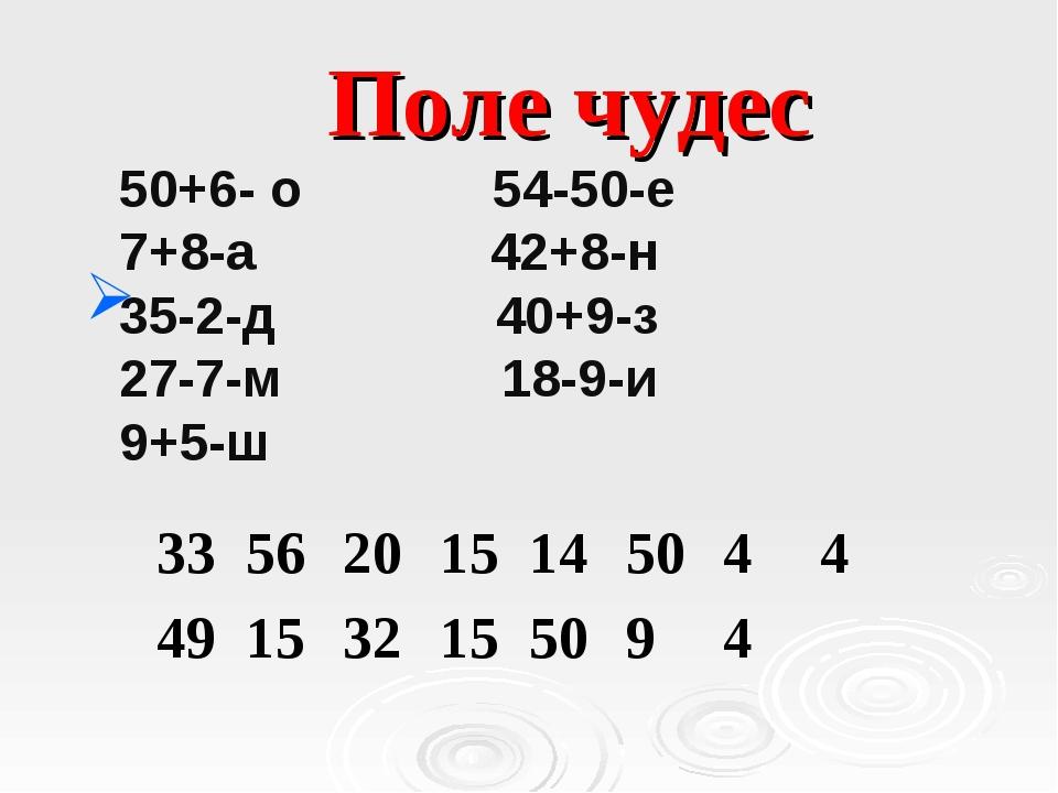 Поле чудес 50+6- о 54-50-е 7+8-а 42+8-н 35-2-д 40+9-з 27-7-м 18-9-и 9+5-ш 33...