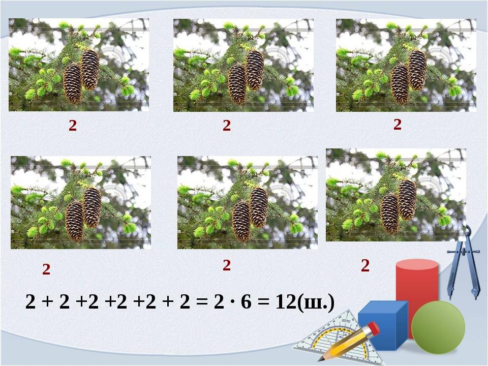 2 2 2 2 2 2 2 + 2 +2 +2 +2 + 2 = 2 ∙ 6 = 12(ш.)