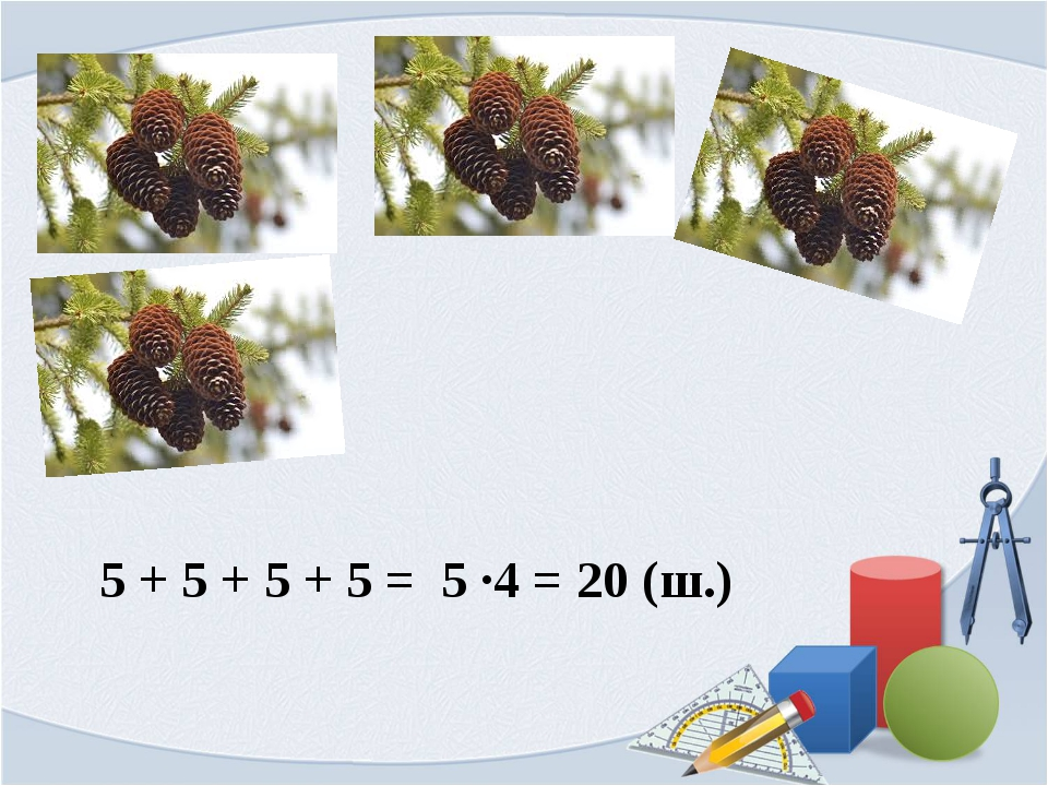 5 + 5 + 5 + 5 = 5 ∙4 = 20 (ш.)