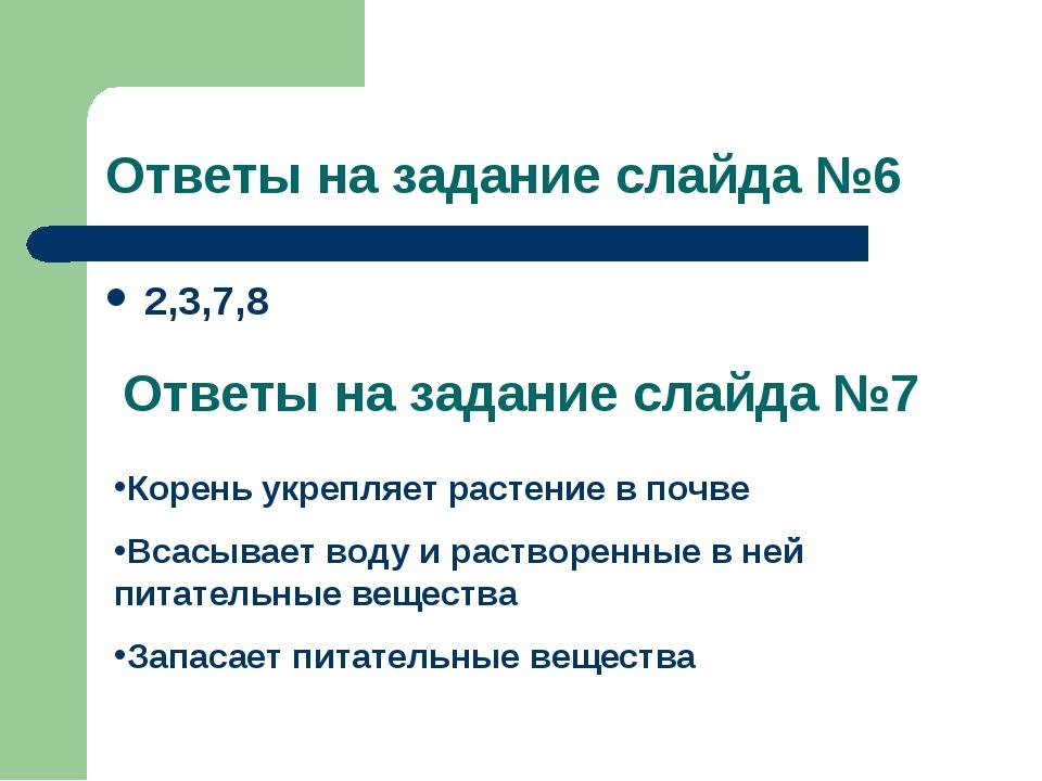 Ответы на задание слайда №6 2,3,7,8 Ответы на задание слайда №7 Корень укрепл...