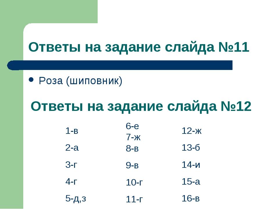 Ответы на задание слайда №11 Роза (шиповник) Ответы на задание слайда №12 1-в...