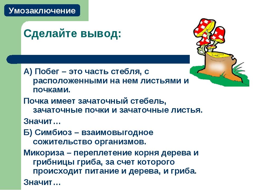 Сделайте вывод: А) Побег – это часть стебля, с расположенными на нем листьями...