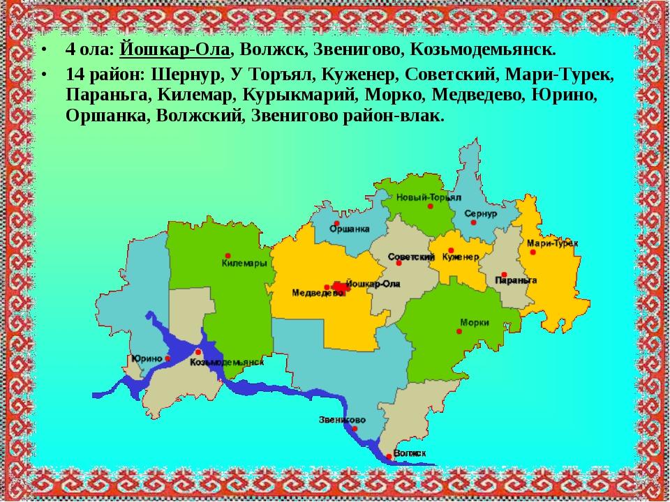 4 ола: Йошкар-Ола, Волжск, Звенигово, Козьмодемьянск. 14 район: Шернур, У Тор...