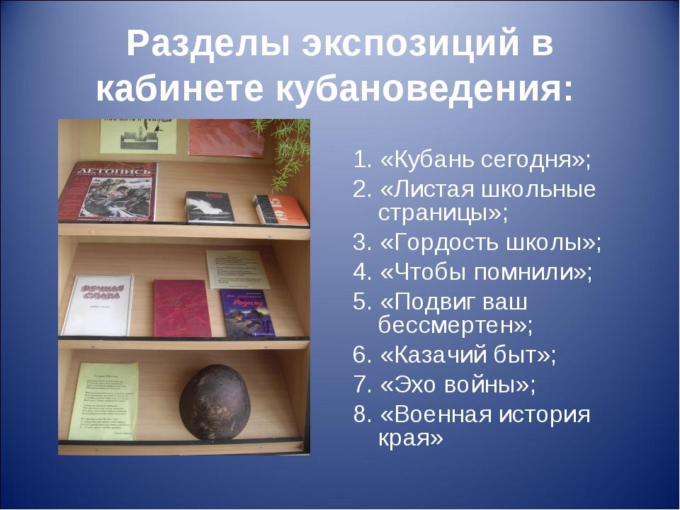 Разделы экспозиций в кабинете кубановедения: 1. «Кубань сегодня»; 2. «Листая...