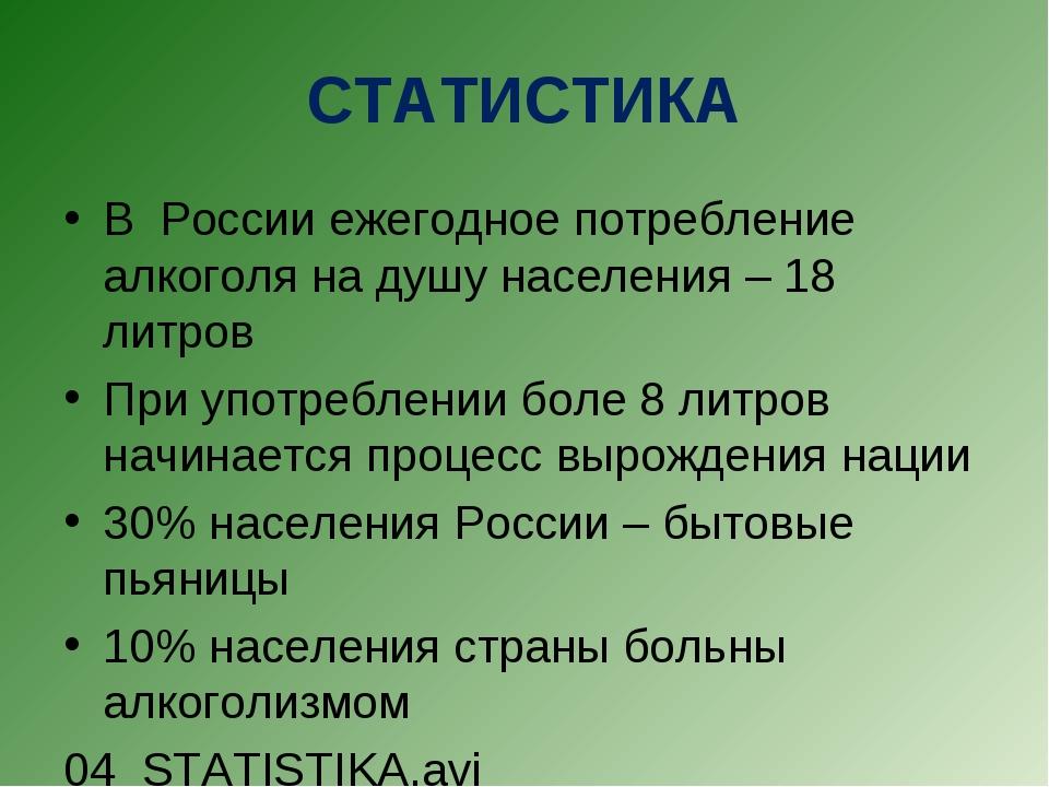 СТАТИСТИКА В России ежегодное потребление алкоголя на душу населения – 18 лит...
