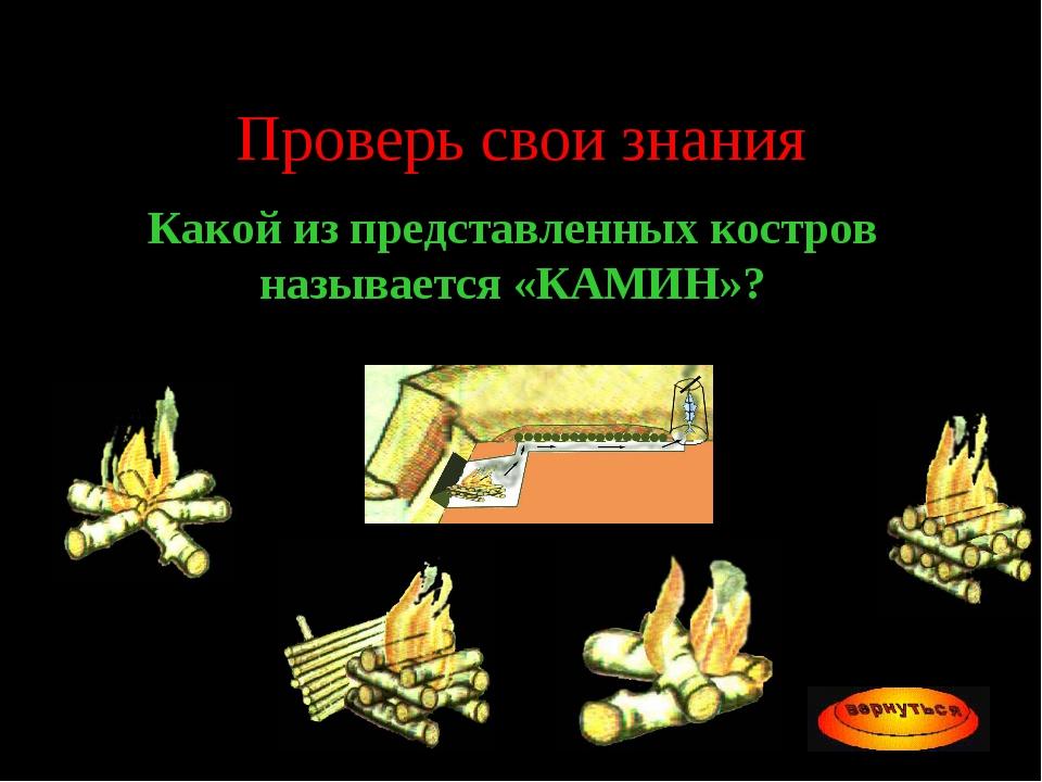 Проверь свои знания Какой из представленных костров называется «КАМИН»?