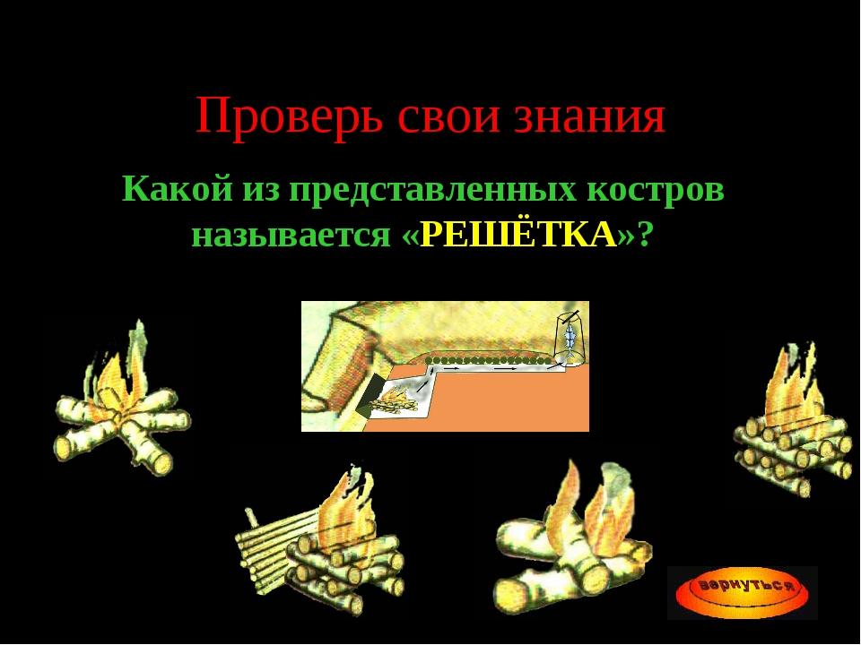Проверь свои знания Какой из представленных костров называется «РЕШЁТКА»?