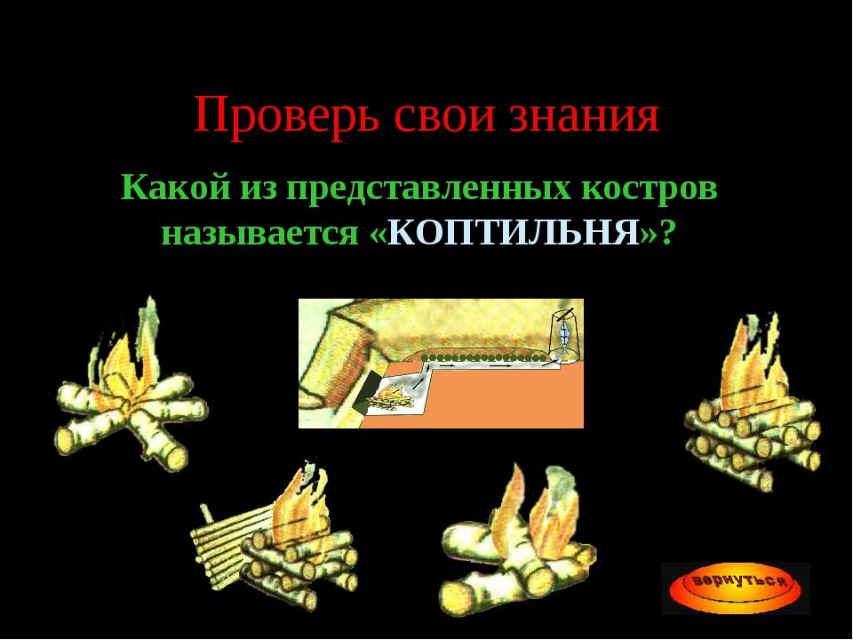 Проверь свои знания Какой из представленных костров называется «КОПТИЛЬНЯ»?