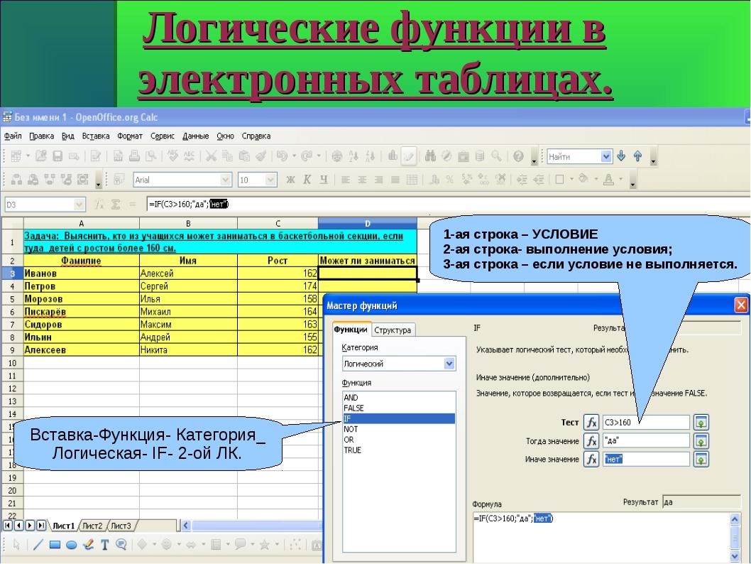 Логические функции в электронных таблицах. Вставка-Функция- Категория_ Логиче...