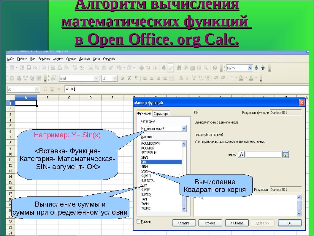 Алгоритм вычисления математических функций в Open Office. org Calc. Например:...