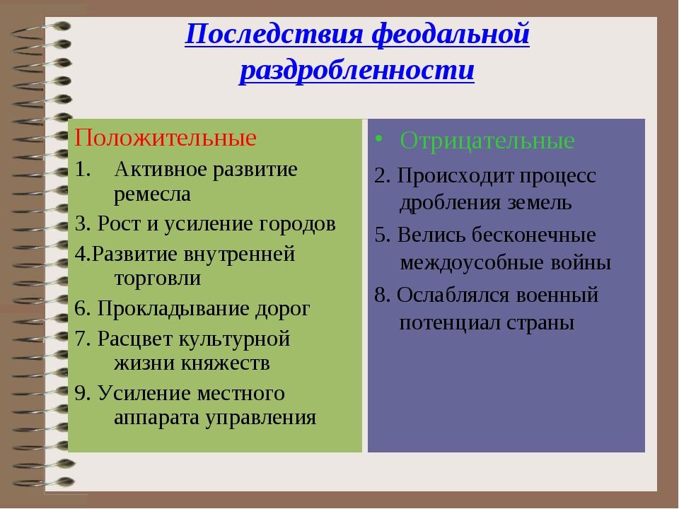 Последствия феодальной раздробленности Положительные Активное развитие ремесл...