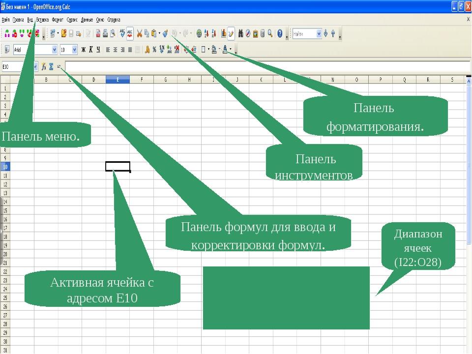 Панель инструментов Панель форматирования. Панель формул для ввода и коррект...