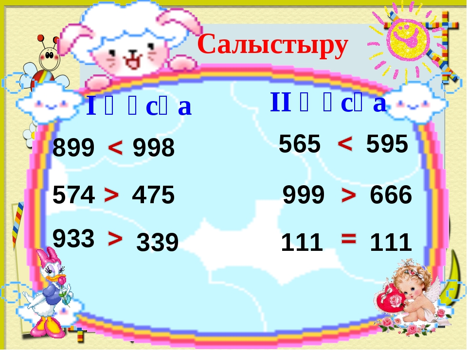 Салыстыру 899 998 574 475 933 339 I ңұсқа II ңұсқа 565 595 999 666 111 111