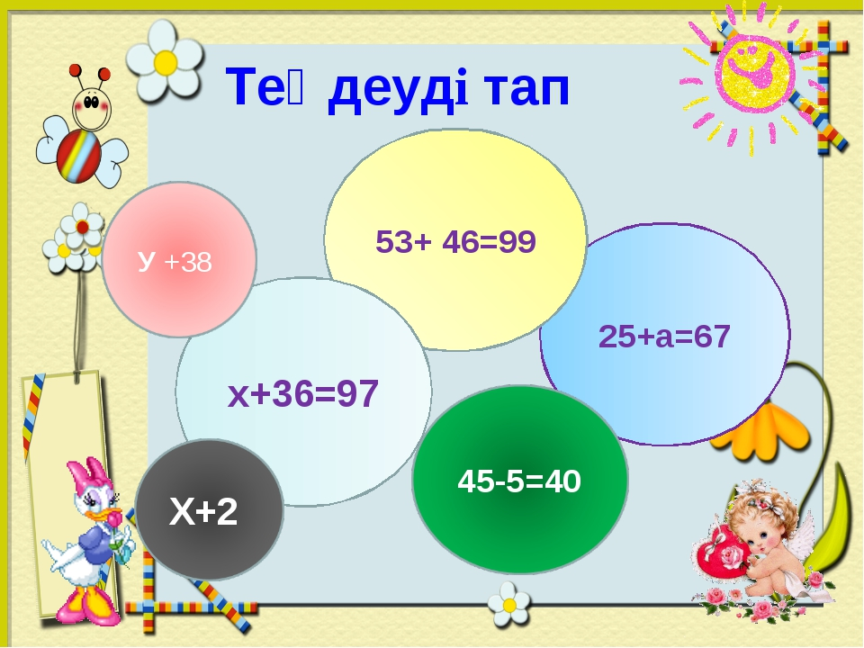 Теңдеуді тап 25+а=67 53+ 46=99 х+36=97