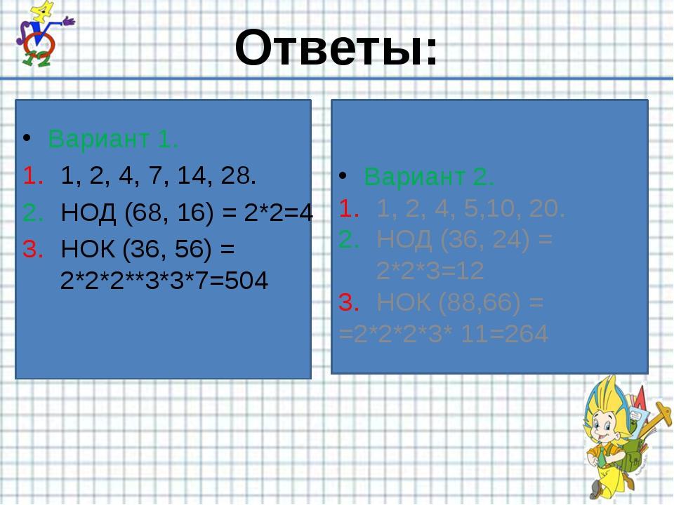 Вариант 1. 1, 2, 4, 7, 14, 28. НОД (68, 16) = 2*2=4 НОК (36, 56) = 2*2*2**3*...
