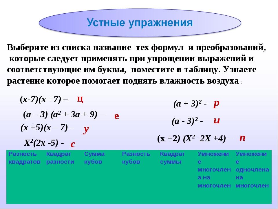 Выберите из списка название тех формул и преобразований, которые следует прим...
