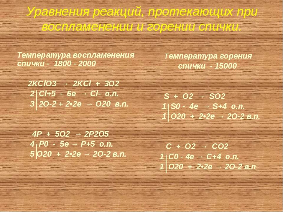 Уравнения реакций, протекающих при воспламенении и горении спички.  Температ...