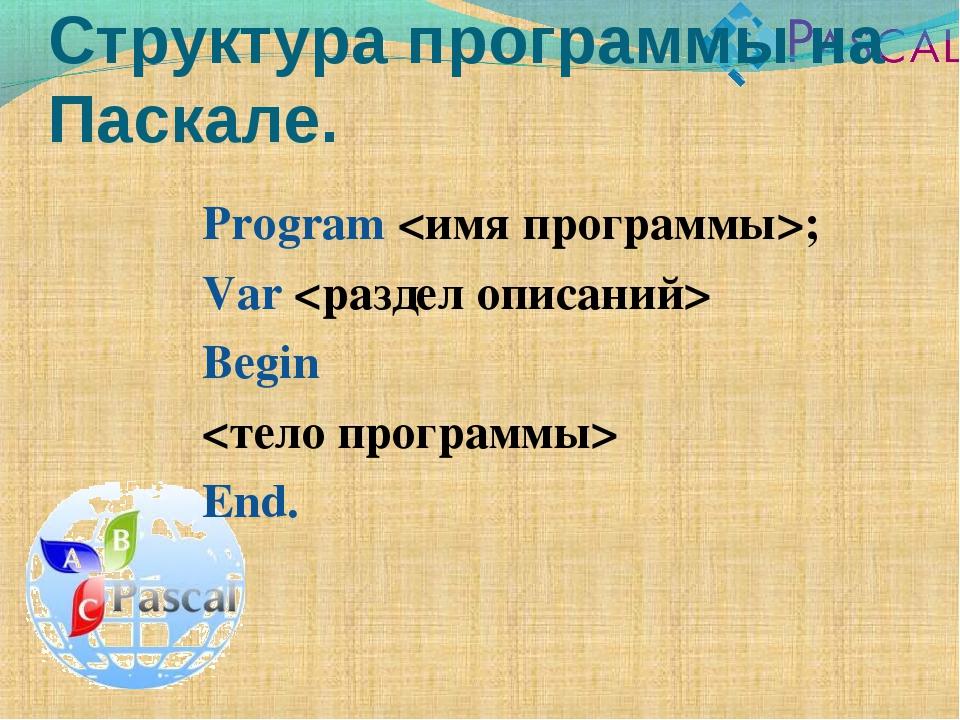 Program ; Var  Begin  End. Структура программы на Паскале.