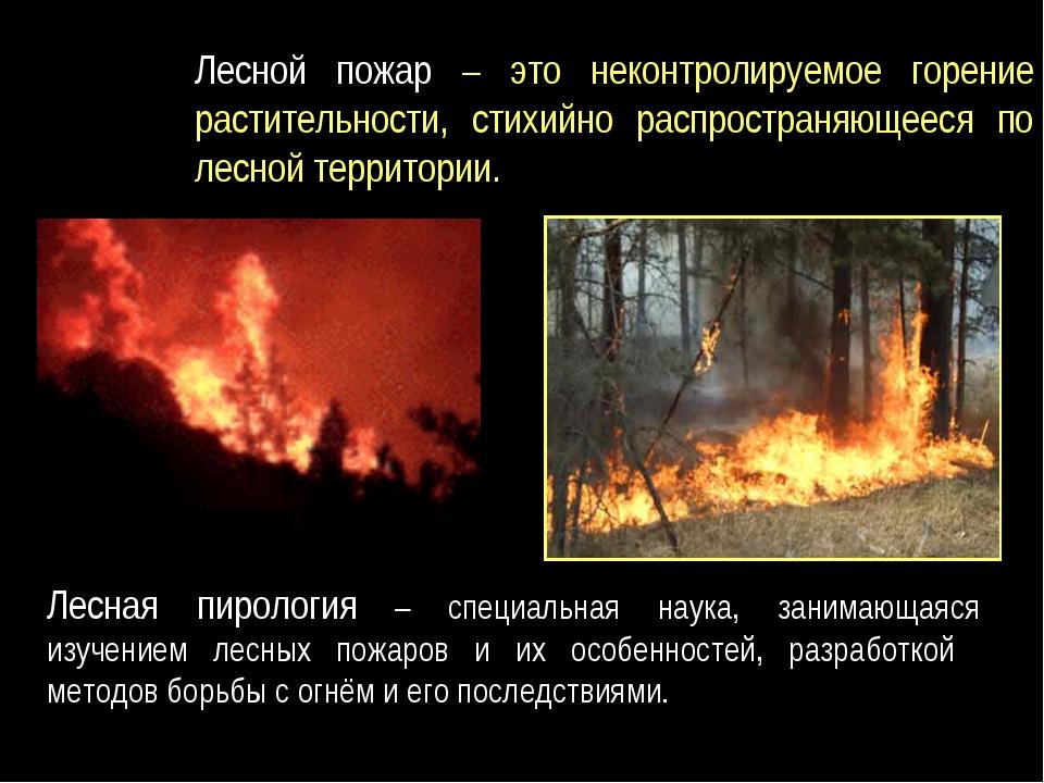 Лесной пожар – это неконтролируемое горение растительности, стихийно распрост...
