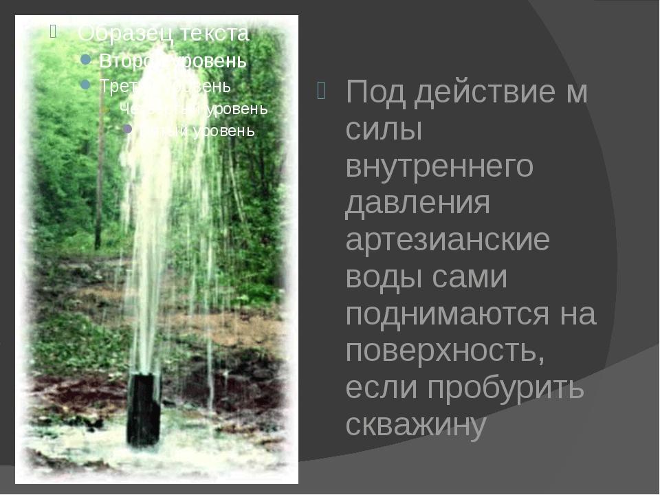 Под действие м силы внутреннего давления артезианские воды сами поднимаются...