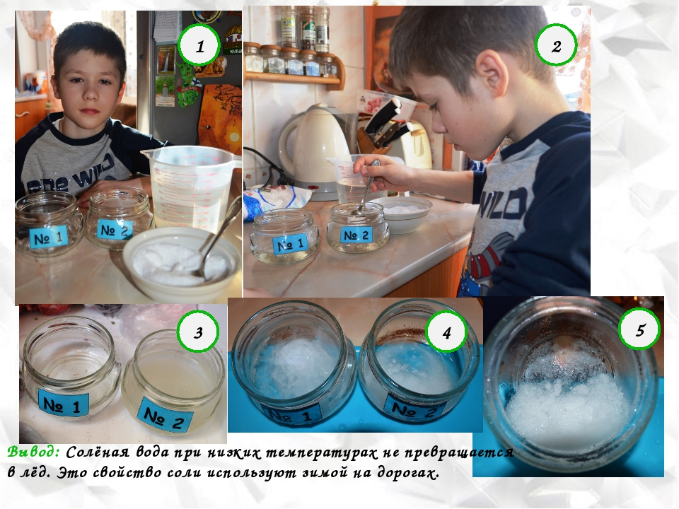 Опыт №2 «Незамерзающая соль» 1 2 3 4 5 Вывод: Солёная вода при низких темпера...