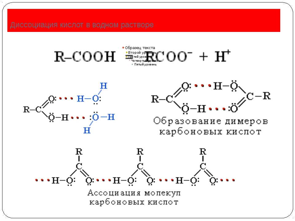 Диссоциация кислот в водном растворе