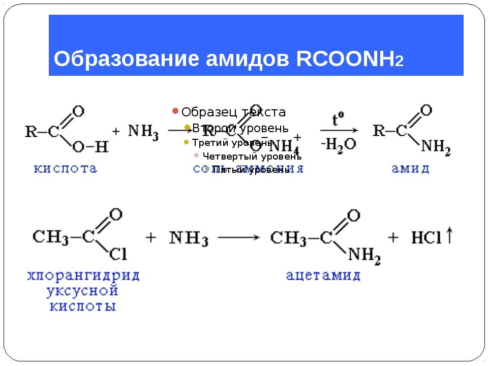 Образование амидов RCOONH2