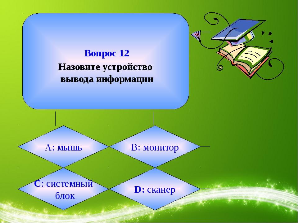Вопрос 12 Назовите устройство вывода информации А: мышь B: монитор C: систем...