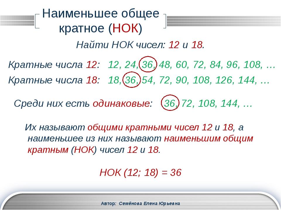 Автор: Семёнова Елена Юрьевна Разложение на простые множители 3780 = 22 ∙ 33...