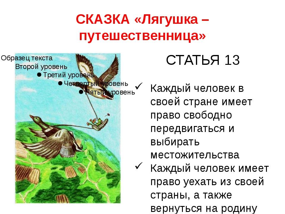 СКАЗКА «Лягушка – путешественница» СТАТЬЯ 13 Каждый человек в своей стране им...