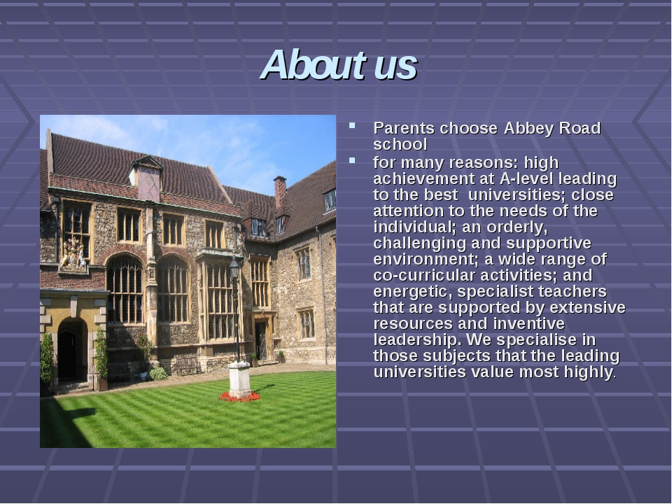 About us Parents choose Abbey Road school for many reasons: high achievement...